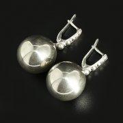 Кубачинские серебряные серьги шары ручной работы арт.10116