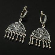 Кубачинские серебряные серьги с филигранью ручной работы арт.10404