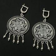 Кубачинские серебряные серьги с филигранью ручной работы арт.10406