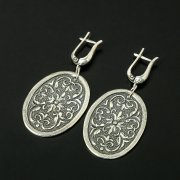 Кубачинские серебряные серьги ручной работы с чернением арт.10407