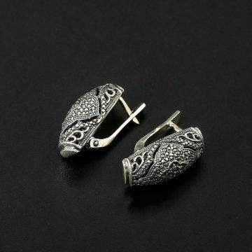 Кубачинские серебряные серьги с филигранью ручной работы