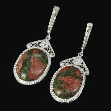 Кубачинские серебряные серьги с филигранью ручной работы (камень - унакит)