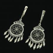 Кубачинские серебряные серьги с филигранью ручной работы (жемчуг) арт.10747