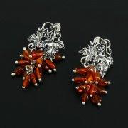 Кубачинские серебряные серьги ручной работы (камень - янтарь) арт.11278