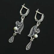 Кубачинские серебряные серьги с филигранью ручной работы (камень - жемчуг) арт.11296