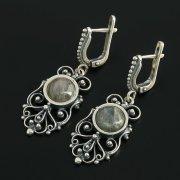 Кубачинские серебряные серьги с филигранью ручной работы (камень - лабрадор)