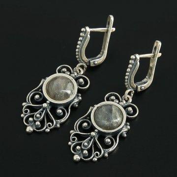 Кубачинские серебряные серьги (лабрадор)