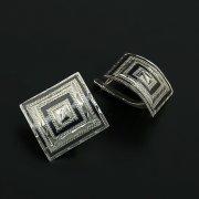 Кубачинские серебряные серьги ручной работы с чернением арт.11322