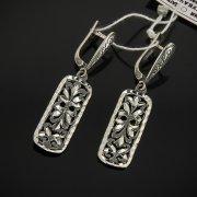 Кубачинские серебряные серьги ручной работы с гравировкой арт.7496