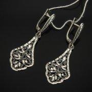 Кубачинские серебряные серьги ручной работы с гравировкой арт.7508