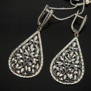 Кубачинские серебряные серьги ручной работы с гравировкой арт.7510