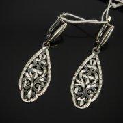 Кубачинские серебряные серьги ручной работы с гравировкой арт.7514