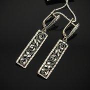 Кубачинские серебряные серьги ручной работы с гравировкой арт.7517