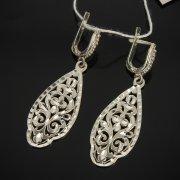 Кубачинские серебряные серьги ручной работы с гравировкой арт.7534