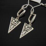 Кубачинские серебряные серьги ручной работы с гравировкой арт.7538
