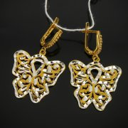 Кубачинские серебряные серьги с позолотой ручной работы арт.7551