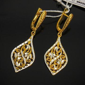 Кубачинские серебряные серьги с позолотой ручной работы