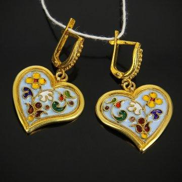 Кубачинские серебряные серьги с эмалью ручной работы