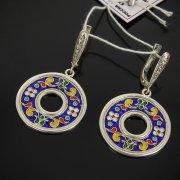 Кубачинские серебряные серьги с эмалью ручной работы арт.7596