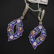 Кубачинские серебряные серьги с эмалью ручной работы арт.7597