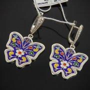 Кубачинские серебряные серьги с эмалью ручной работы арт.7600