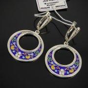 Кубачинские серебряные серьги с эмалью ручной работы арт.7602