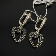 Кубачинские серебряные серьги с филигранью ручной работы арт.7606