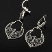Кубачинские серебряные серьги с филигранью ручной работы арт.7866