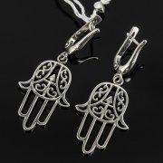 Кубачинские серебряные серьги с филигранью ручной работы арт.7871