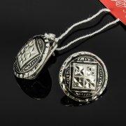 Кубачинские серебряные серьги ручной работы с чернением арт.7903