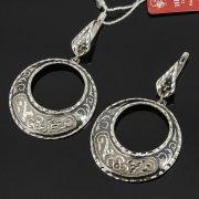 Кубачинские серебряные серьги ручной работы с чернением арт.7908