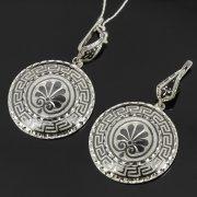 Кубачинские серебряные серьги ручной работы с чернением арт.7909