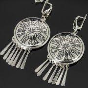 Кубачинские серебряные серьги ручной работы с чернением арт.7910