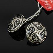 Кубачинские серебряные серьги ручной работы с чернением арт.7916