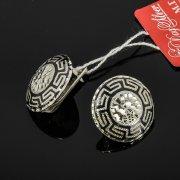 Кубачинские серебряные серьги ручной работы с чернением арт.7917