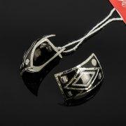 Кубачинские серебряные серьги ручной работы с чернением арт.7932