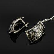 Кубачинские серебряные серьги ручной работы с чернением арт.7936