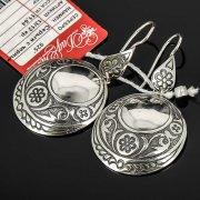 Кубачинские серебряные серьги ручной работы с чернением арт.7939