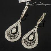 Кубачинские серебряные серьги с филигранью ручной работы (камень - жемчуг) арт.8072