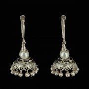 Кубачинские серебряные серьги с филигранью ручной работы (камень - жемчуг) арт.8083