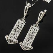 Кубачинские серебряные серьги с филигранью ручной работы арт.8095