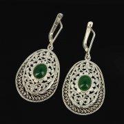 Кубачинские серебряные серьги ручной работы с филигранью (камень - агат) арт.9430
