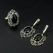 Кубачинский серебряный комплект украшений ручной работы с филигранью (серьги, кольцо) арт.10414