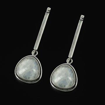 Серебряные серьги Лунная соната авторская работа (лунный камень)