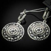 Кубачинские серебряные серьги ручной работы с чернением арт.5531