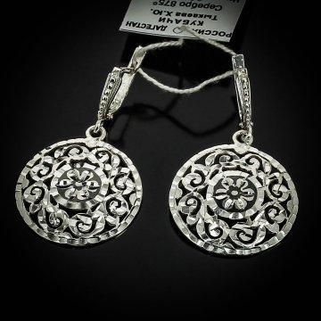 Серебряные серьги с алмазной гранью