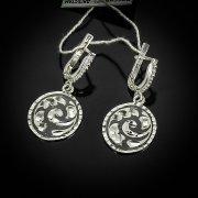 Кубачинские серебряные серьги ручной работы с чернением арт.5544