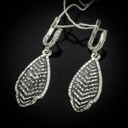 Кубачинские серебряные серьги ручной работы с чернением арт.5545