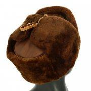 Мужская шапка-ушанка из овчины ручной работы (цигейка) арт.11388