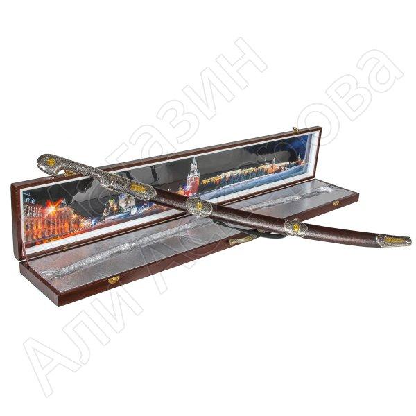Кубачинский подарочный набор в футляре (шашка с позолоченными вставками)